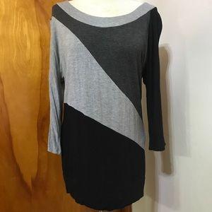 Maurice's gray tones color-block shirt